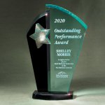 Patina Star Tower Jade and Black Lucite on Base Achievement Awards
