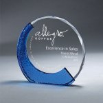 Clear Glass with Textured Blue Glass Employee Awards