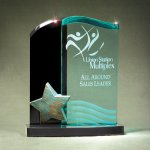 Patina Star Double Wave Jade and Black Lucite on Base Sales Awards