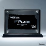 Frosted Lucite Cutout on Risers Award  with Choice of State Sales Awards